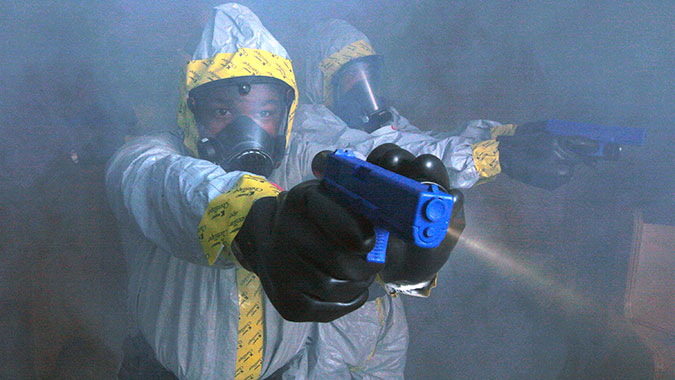 image of training in Law Enforcement Protective Measures for CBRNE Incidents