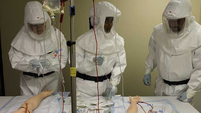 image of training in Barrier Precautions and Controls for Highly Infectious Disease