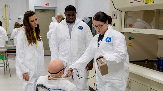 Nursing students from the University of Alabama at Birmingham (UAB) School of Nursing learn to use radiation detection equipment at the Center for Domestic Preparedness. The students completed Incident Complexities – Responders Actions for CBRNE Incidents (ICR) course.