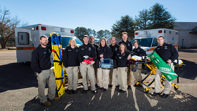 (From left to right) Jason Hail, Kendra Cobb, Derick Reaves, Jon Collins, Kristy Bowling, Josh Stearns, Jodi Roberts, Chris Harper, Ashley Newton, and Jeremy Brown make up the full-time paramedic team.