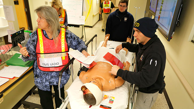 Students attending the Healthcare Leadership for Mass Casualty Incidents (HCL) course operate the Emergency Department of the CDP's Noble Training Facility. The NTF is the only hospital in the nation solely dedicated to training healthcare professionals for mass casualty response.