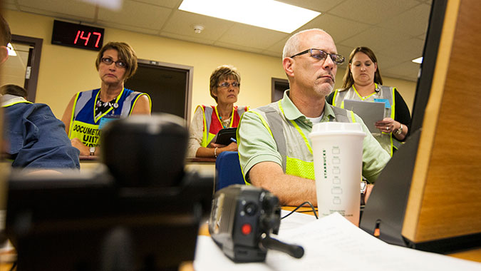 Hospital professionals from Kansas participate in the Healthcare Leadership for Mass Casualty Incidents (HCL) course at the Noble Training Facility (NTF) conducted by the Center for Domestic Preparedness. HCL is designed to assist healthcare professionals in generating decisions in response to a mas