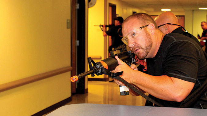 Law enforcement officers apply active-shooter response training during an Integrated Capstone Event (ICE) at the CDP.
