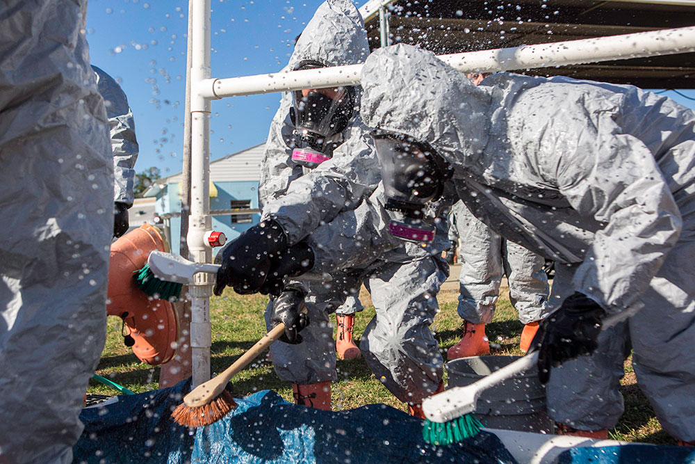Emergency response personnel practice decontamination at the COBRA Training Facility at the CDP. They run exercises in Principles of Mass Casualty Response, Scene Survey and Safety, Sampling and Monitoring, and Decontamination preparing them for the final exercise at the COBRA. CDP training for state, local, and tribal responders is fully funded by FEMA, a component of the U.S. Department of Homeland Security. Round-trip air and ground transportation, lodging, and meals are provided at no cost to responders or their agency. To learn more about the Center for Domestic Preparedness, visit http://cdp.dhs.gov or call 866-213-9553. Photo by Benjamin Crossley CDP/FEMA