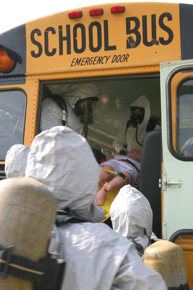Students attending CDP training learn to safely remove survivors from a contaminated scene and to the decontamination process. The CDP offers realistic scenarios, using a variety of props and conditions. CDP training focuses on incident management, mass casualty response, and emergency response to a catastrophic natural disaster or terrorist act. CDP training for state, local, and tribal responders is fully funded by FEMA, a component of the U.S. Department of Homeland Security. Round-trip air and ground transportation, lodging, and meals are provided at no cost to responders or their agency. To learn more about the Center for Domestic Preparedness, visit http://cdp.dhs.gov or call 866-213-9553.  Photo by Shannon Arledge CDP/FEMA