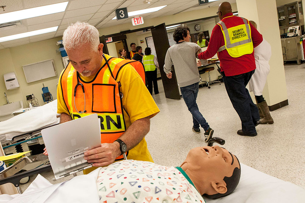 The CDP operates the nation's only hospital facility dedicated solely to preparing the healthcare, public health, and environmental health communities for mass casualty events related to catastrophic natural disasters or terrorist acts. The hospital is called the Noble Training Facility (NTF), and was integrated into CDP training in 2007. The NTF offers an 8,000 square foot Emergency Department (ED) and features expanded training space and improved technologies to enhance medical surge training for CDP students. The CDP also includes patient simulators is much of its healthcare training. CDP training focuses on incident management, mass casualty response, and emergency response to a catastrophic natural disaster or terrorist act. CDP training for state, local, and tribal responders is fully funded by FEMA, a component of the U.S. Department of Homeland Security. Round-trip air and ground transportation, lodging, and meals are provided at no cost to responders or their agency. To learn more about the Center for Domestic Preparedness, visit http://cdp.dhs.gov or call 866-213-9553.  Photo by Shannon Arledge CDP/FEMA