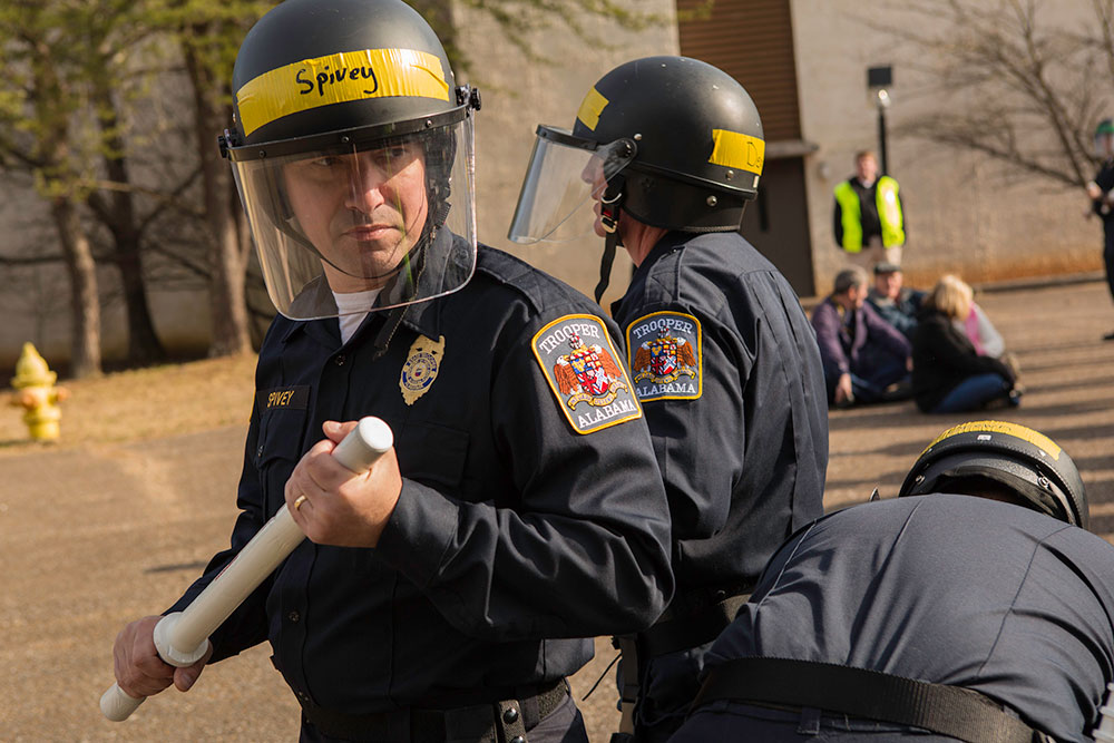 The CDP provides law enforcement officers with Chemical, Biological, Radiological, Nuclear, and Explosive specific response skills. The courses present topics such as terrorist tactics, indicators of terrorism, and protective measures. Other Field Force Training is offered for National Special Security Events (NSSE). NSSE training focuses on crowd control, protester extrication tactics, and incident management used by law enforcement. CDP training focuses on incident management, mass casualty response, and emergency response to a catastrophic natural disaster or terrorist act. CDP training for state, local, and tribal responders is fully funded by FEMA, a component of the U.S. Department of Homeland Security. Round-trip air and ground transportation, lodging, and meals are provided at no cost to responders or their agency. To learn more about the Center for Domestic Preparedness, visit http://cdp.dhs.gov or call 866-213-9553.  Photo by Shannon Arledge CDP/FEMA