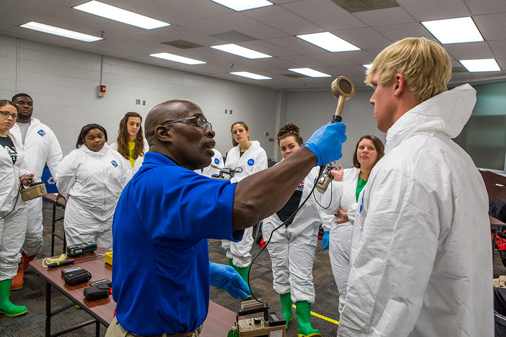 Emergency response personnel learn how to use radiological detection devices at the CDP. The CDP is a partner with the Radiological Emergency Preparedness Program (REPP), and students learn to respond to, and manage, radiological operations. CDP training focuses on incident management, mass casualty response, and emergency response to a catastrophic natural disaster or terrorist act. CDP training for state, local, and tribal responders is fully funded by FEMA, a component of the U.S. Department of Homeland Security. Round-trip air and ground transportation, lodging, and meals are provided at no cost to responders or their agency. To learn more about the Center for Domestic Preparedness, visit http://cdp.dhs.gov or call 866-213-9553. Photo by Benjamin Crossley CDP/FEMA