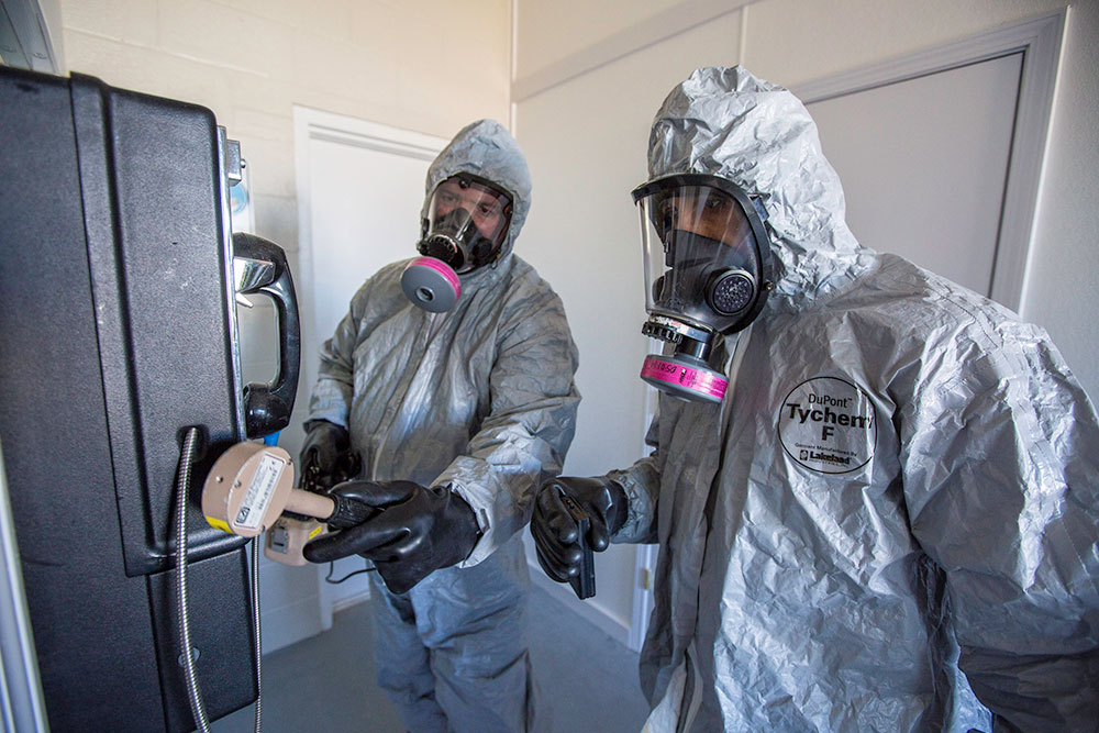 Emergency response personnel check for radiological activity at the COBRA Training Facility at the CDP. The CDP is a partner with the Radiological Emergency Preparedness Program (REPP), and students learn to respond to, and manage, radiological operations. CDP training focuses on incident management, mass casualty response, and emergency response to a catastrophic natural disaster or terrorist act. CDP training for state, local, and tribal responders is fully funded by FEMA, a component of the U.S. Department of Homeland Security. Round-trip air and ground transportation, lodging, and meals are provided at no cost to responders or their agency. To learn more about the Center for Domestic Preparedness, visit http://cdp.dhs.gov or call 866-213-9553. Photo by Benjamin Crossley CDP/FEMA