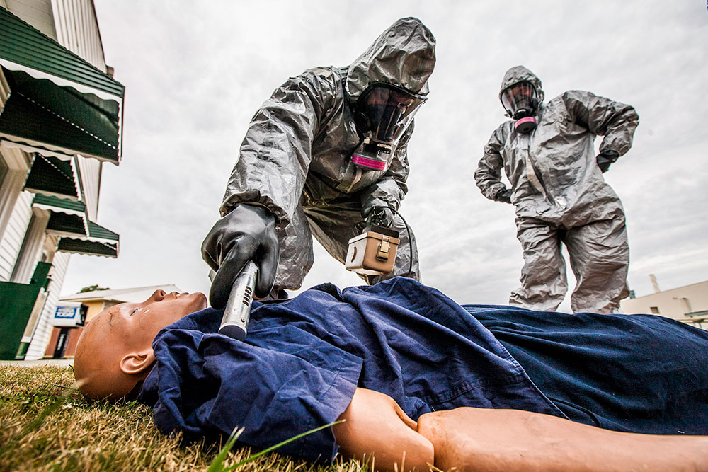 Emergency response personnel check for radiological activity on a manikin at the COBRA Training Facility at the CDP. The CDP is a partner with the Radiological Emergency Preparedness Program (REPP), and students learn to respond to, and manage, radiological operations. CDP training focuses on incident management, mass casualty response, and emergency response to a catastrophic natural disaster or terrorist act. CDP training for state, local, and tribal responders is fully funded by FEMA, a component of the U.S. Department of Homeland Security. Round-trip air and ground transportation, lodging, and meals are provided at no cost to responders or their agency. To learn more about the Center for Domestic Preparedness, visit http://cdp.dhs.gov or call 866-213-9553. Photo by Benjamin Crossley CDP/FEMA