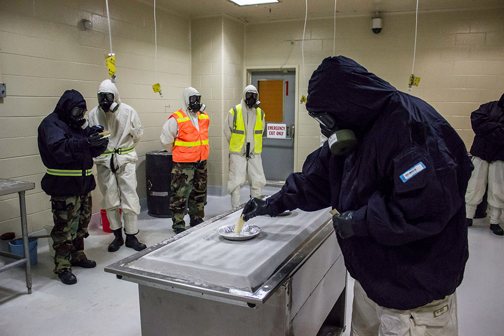 Emergency response personnel practice with live toxic agent at the COBRA Training Facility at the CDP. CDP is the nation's only toxic chemical agent training facility for civilian responders. Using nerve agents GB and VX, the facility located in Anniston, Ala., offers a one-of-a-kind training opportunity. The CDP provides emergency responders with the confidence and competence to face almost any disaster or hazardous event, understanding that their equipment and abilities are up to task. CDP training focuses on incident management, mass casualty response, and emergency response to a catastrophic natural disaster or terrorist act. CDP training for state, local, and tribal responders is fully funded by FEMA, a component of the U.S. Department of Homeland Security. Round-trip air and ground transportation, lodging, and meals are provided at no cost to responders or their agency. To learn more about the Center for Domestic Preparedness, visit http://cdp.dhs.gov or call 866-213-9553. Photo by Benjamin Crossley CDP/FEMA